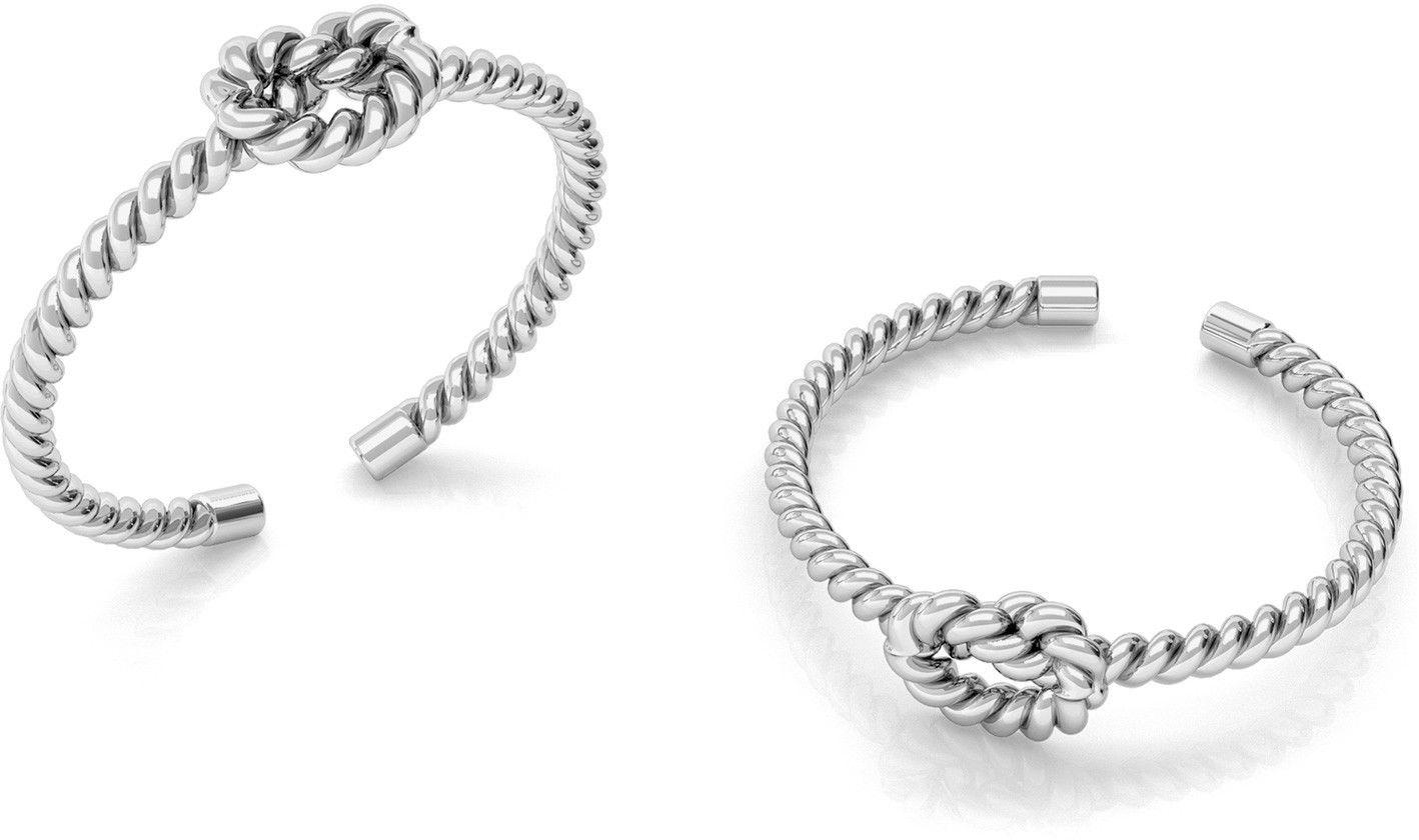 Srebrny pierścionek supeł z liny, sznurek, srebro 925 : Srebro - kolor pokrycia - Pokrycie platyną