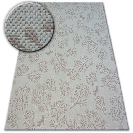 Dywan SZNURKOWY SIZAL FLAT 48774/526 Listki Ptaszki krem róż 80x150 cm