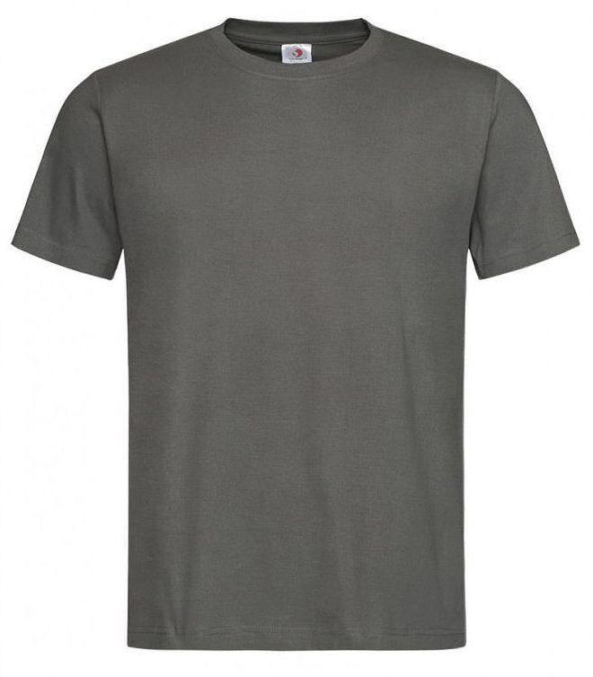 Ciemny Szary Bawełniany T-Shirt Męski Bez Nadruku -STEDMAN- Koszulka, Krótki Rękaw, Basic, U-neck TSJNPLST2000realgrey