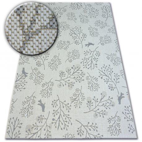Dywan SZNURKOWY SIZAL FLAT 48774/367 Listki Ptaszki krem szary 80x150 cm