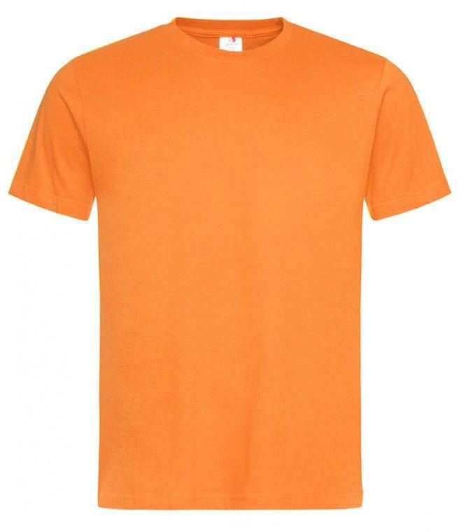 Pomarańczowy Bawełniany T-Shirt Męski Bez Nadruku -STEDMAN- Koszulka, Krótki Rękaw, Basic, U-neck TSJNPLST2000orange