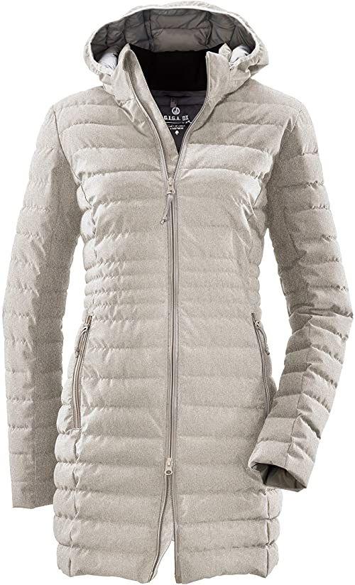 G.I.G.A. DX Bacarya płaszcz pikowany damski  parka funkcyjna z kapturem  kurtka pikowana długa  płaszcz przejściowy o wyglądzie puchu, jasnoszary, 48