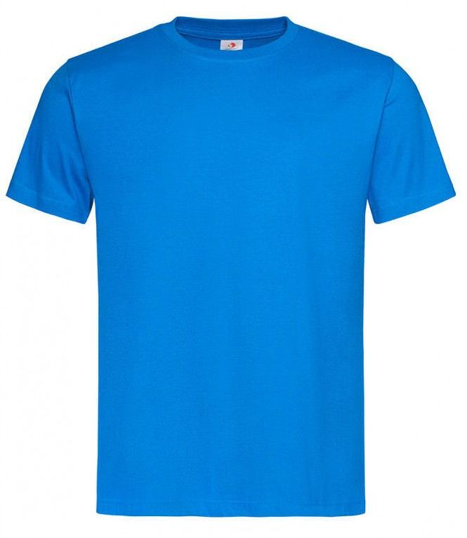 Błękitny Bawełniany T-Shirt Męski Bez Nadruku -STEDMAN- Koszulka, Krótki Rękaw, Basic, U-neck TSJNPLST2000oceanblue