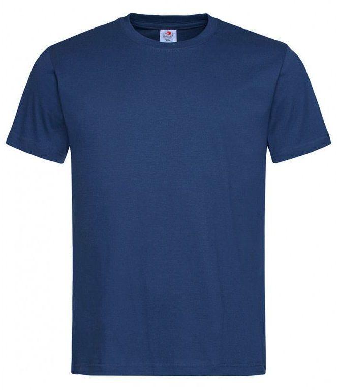 Ciemny Niebieski Bawełniany T-Shirt Męski Bez Nadruku -STEDMAN Koszulka, Krótki Rękaw, Basic, U-neck TSJNPLST2000navyblue