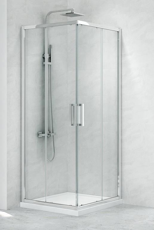 New Trendy New Praktic Kabina prysznicowa kwadratowa z drzwiami przesuwnymi 100x100x195 przejrzyste K-0467