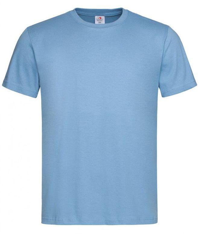 Jasny Niebieski Bawełniany T-Shirt Męski Bez Nadruku -STEDMAN- Koszulka, Krótki Rękaw, Basic, U-neck TSJNPLST2000lightblue