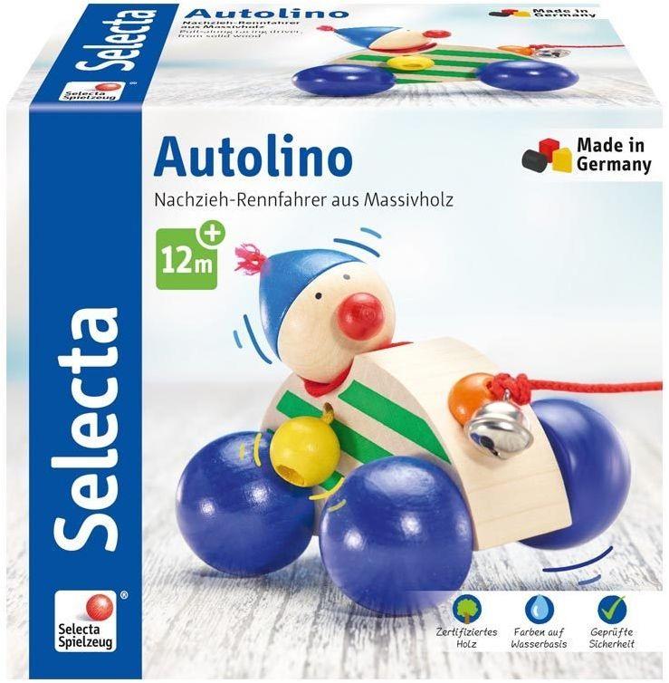 Selecta 62024 Autolino, zabawka do ciągnięcia, z drewna, 11 cm
