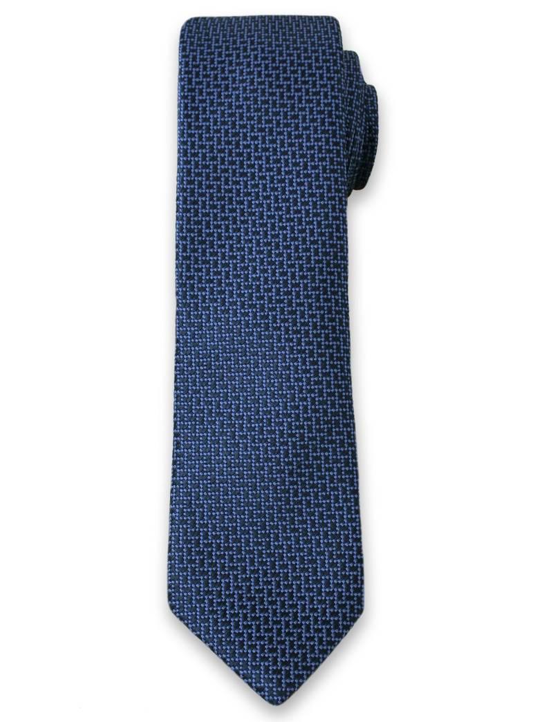 Elegancki Krawat Męski w Drobny Wzór 6 cm- Alties, Niebiesko-Granatowy KRALTS0109