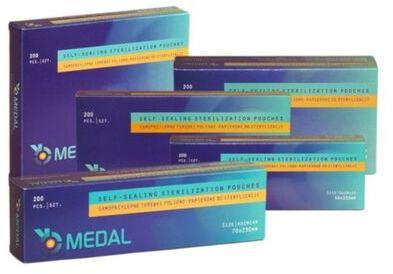 Samoprzylepne torebki do sterylizacji foliowo-papierowe MEDAL - 200 szt.