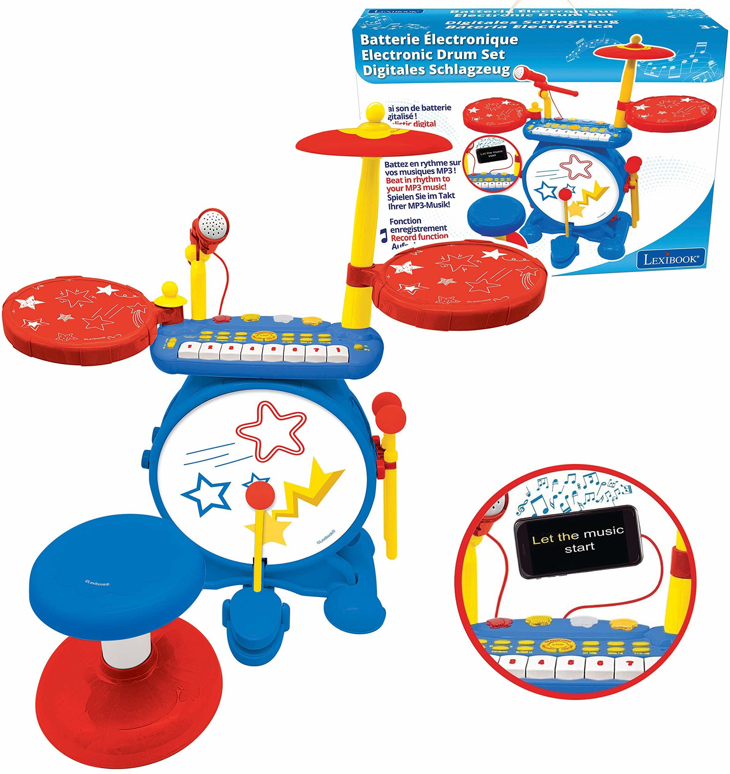 Lexibook K610 zestaw elektroniczny dla dzieci, gra muzyczna zabawkowa, realistyczny dźwięk perkusji, klawiatura z 8 klawiszami, wtyczka MP3, gniazdo w zestawie, niebieski/czerwony