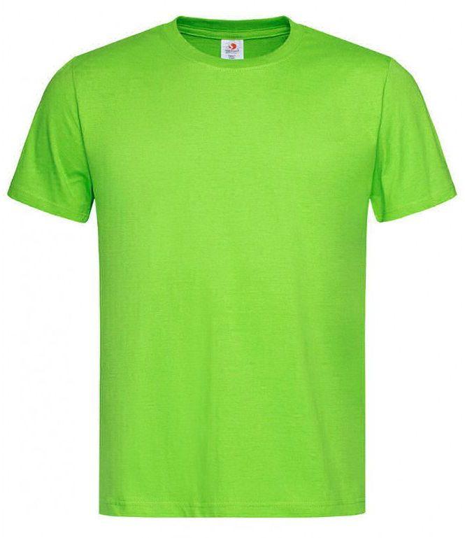 Jasny Zielony Bawełniany T-Shirt Męski Bez Nadruku -STEDMAN- Koszulka, Krótki Rękaw, Basic, U-neck TSJNPLST2000kiwigreen