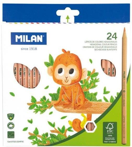 Kredki ołówkowe 24 kolory MILAN NATURAL /07221224FSC/