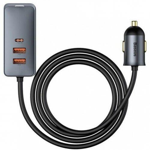 Ładowarka samochodowa z rozgałęźnikiem Baseus Share Together 2x USB-A, 2x USB-C, 4x 30W, QC, PD, szara