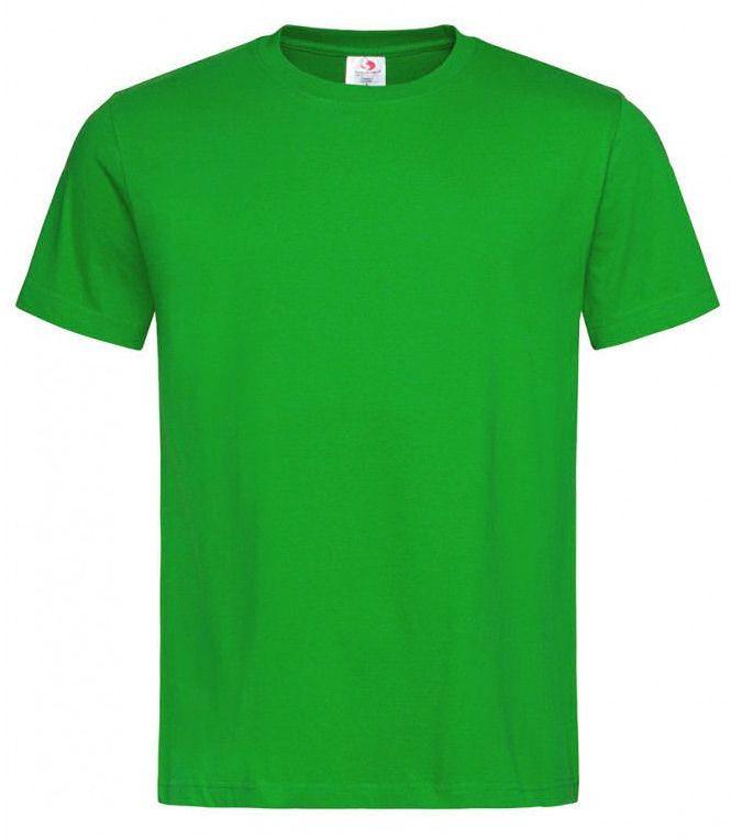 Zielony Bawełniany T-Shirt Męski Bez Nadruku -STEDMAN- Koszulka, Krótki Rękaw, Basic, U-neck TSJNPLST2000kellygreen