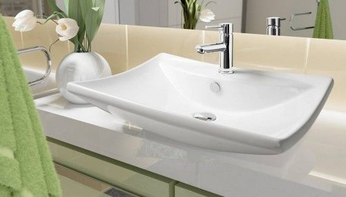 Umywalka 61x45x17 cm nablatowa z przelewem,biała