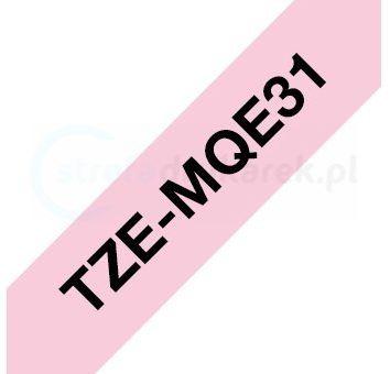 Oryginalna taśma Brother TZe-MQE31 12mm x 4m różowa/czarny nadruk