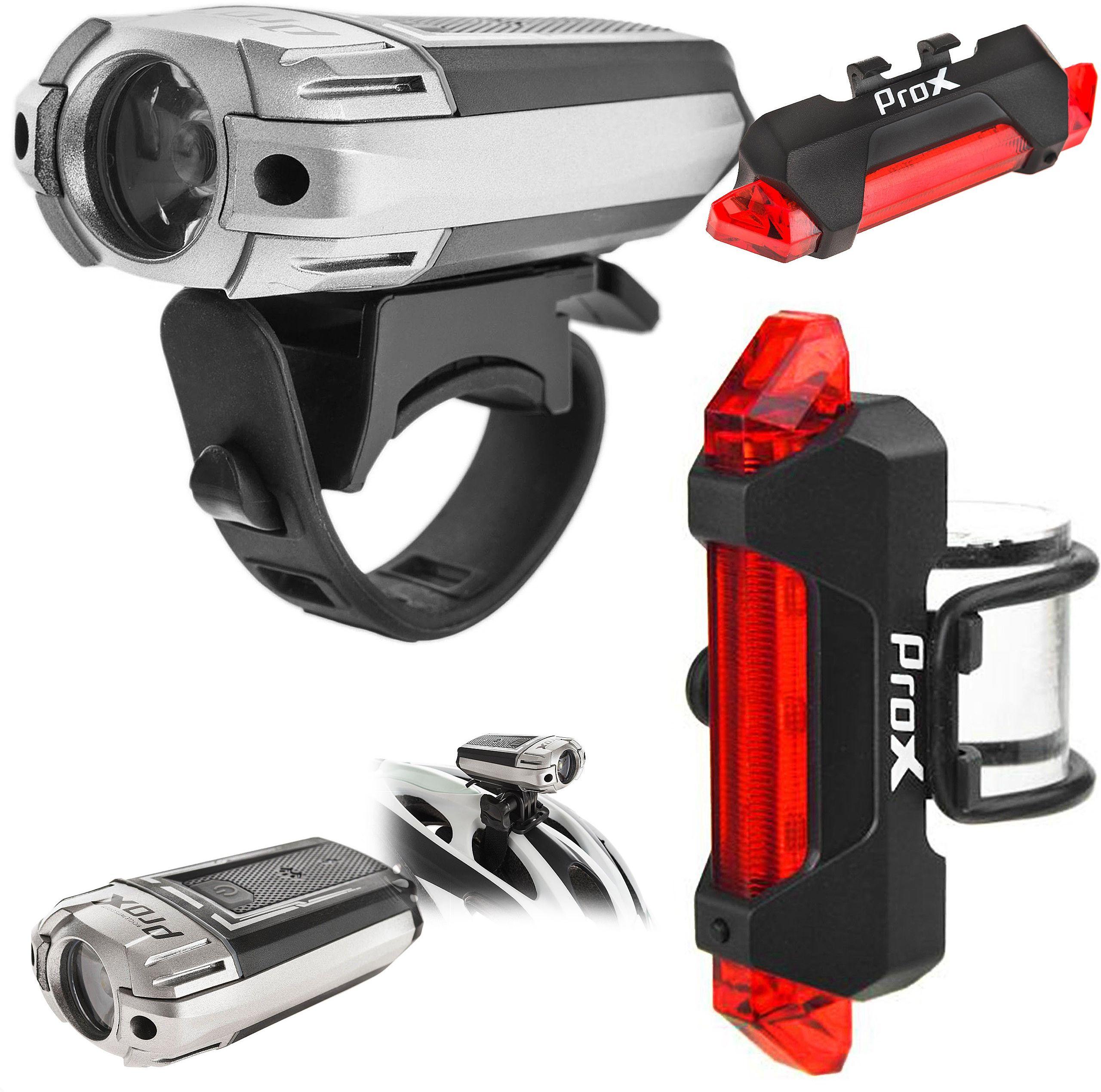 Lampa przednia + tylna /akumulator/ PROX URSA SET USB -CREE 300 LM + 5xLED 50 Lm