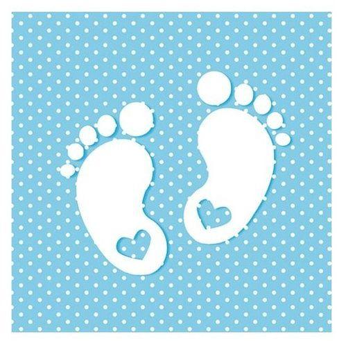 Serwetki niebieskie Stópki Baby Shower 33cm 20 sztuk SLCH000802