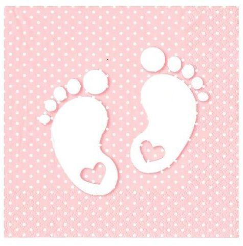 Serwetki różowe Stópki Baby Shower 33cm 20 sztuk SLCH000803