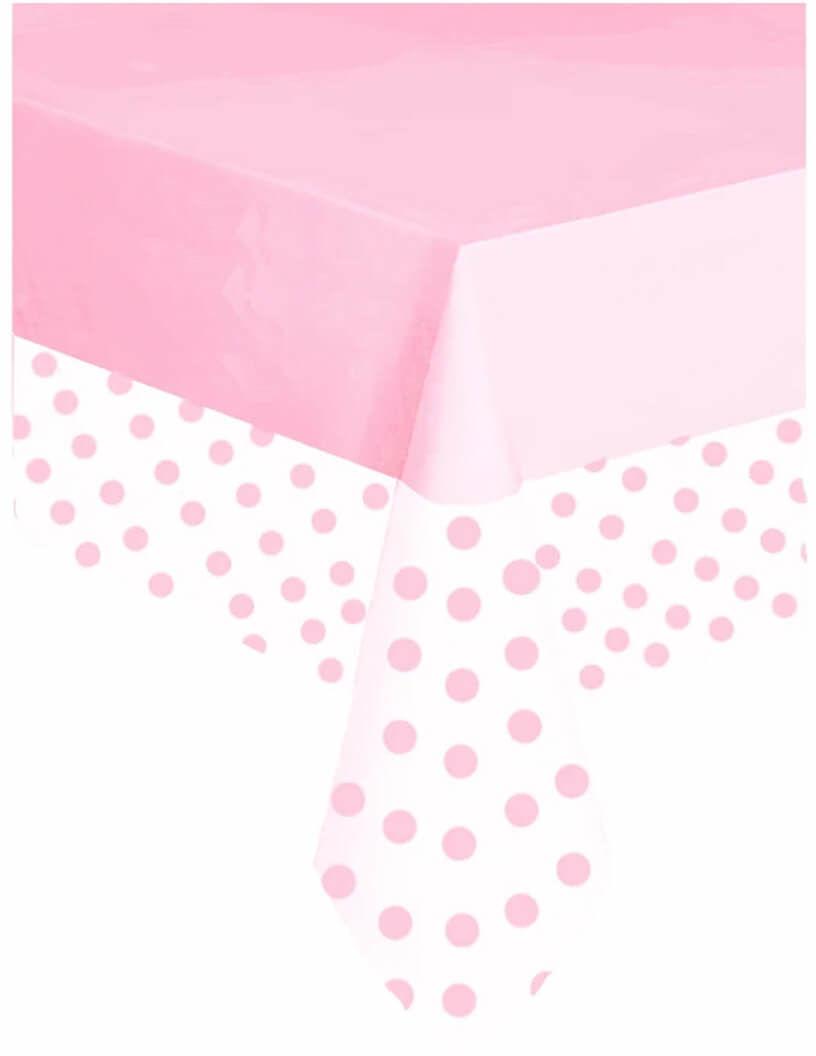 Obrus urodzinowy różowy w kropki - 137 x 274 cm - 1 szt.