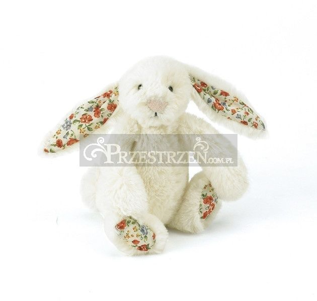MASKOTKA JELLYCAT - Kwiatowy Królik - kremowy Bashful 18 cm - BLB6CBN