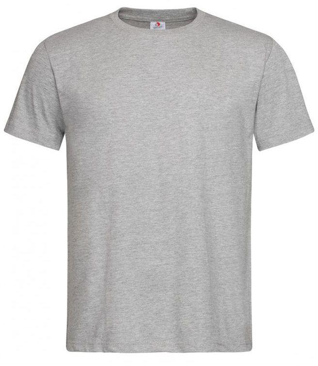 Szary Bawełniany T-Shirt Męski Bez Nadruku -STEDMAN- Koszulka, Krótki Rękaw, Basic, U-neck TSJNPLST2000greyheather