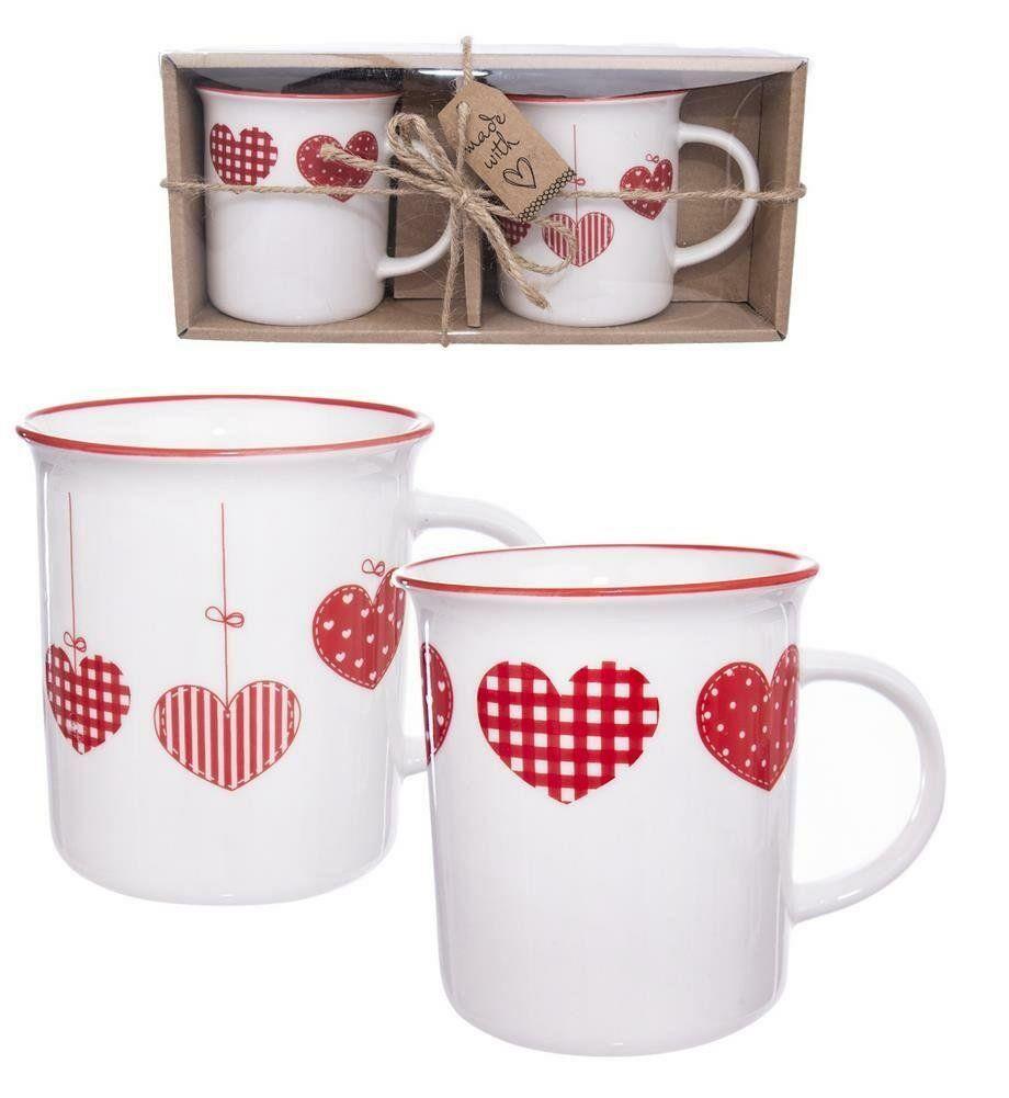Kubek porcelanowy zestaw kubków z uchem do kawy herbaty dekor na prezent 2 sztuki 350 ml