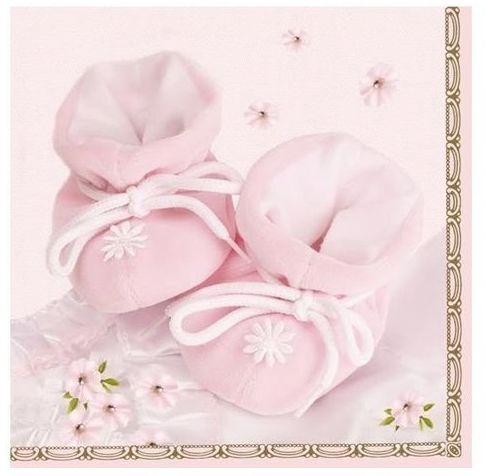 Serwetki na Roczek Chrzest Buciki różowe 33cm 20 sztuk SLCH000401