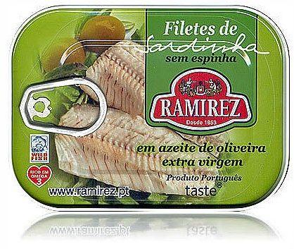 Filety z sardynek portugalskich w oliwie extra virgin, z kawałkami oliwek Ramirez 100g.