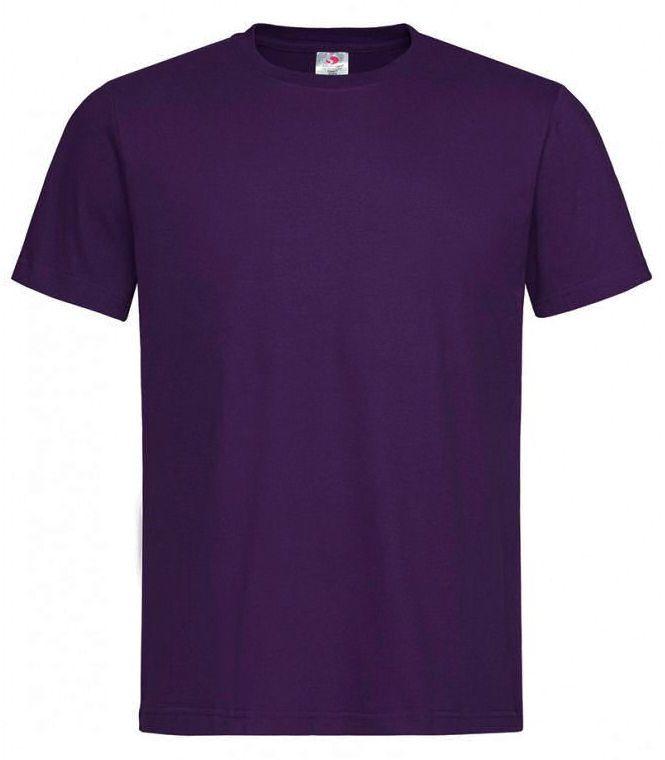 Fioletowy Bawełniany T-Shirt Męski Bez Nadruku -STEDMAN- Koszulka, Krótki Rękaw, Basic, U-neck TSJNPLST2000deepberry