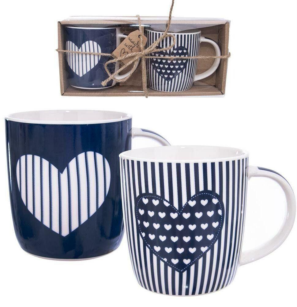 Kubek porcelanowy do kawy herbaty zestaw kubków z uchem dekor na prezent 2 sztuki 390 ml