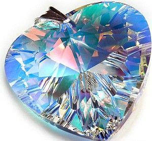 Swarovski Duży Wisiorek 40Mm Aurora Heart Srebro