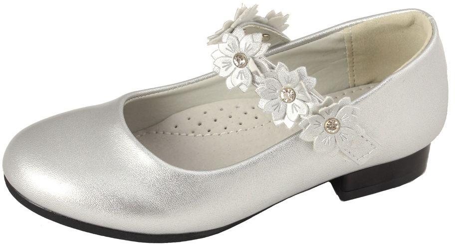 Lakierowane pantofelki dziewczęce 27-32 01/CLB srebrny