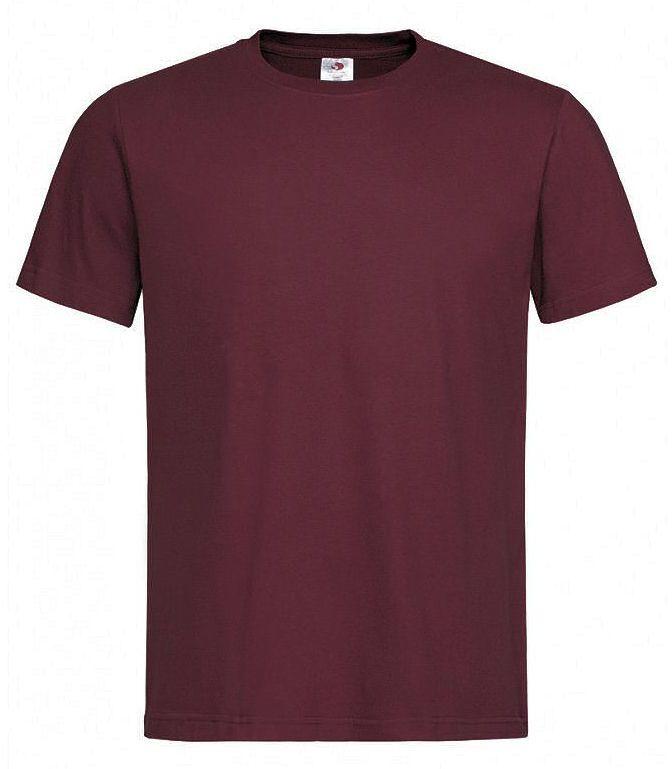 Bordowy Bawełniany T-Shirt Męski Bez Nadruku -STEDMAN- Koszulka, Krótki Rękaw, Basic, U-neck TSJNPLST2000burgundyred