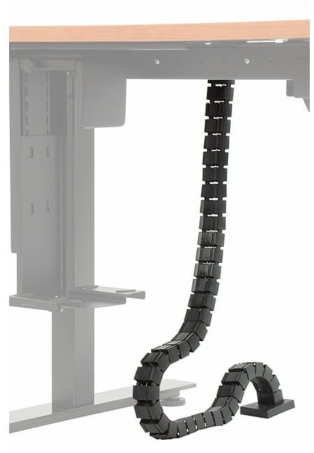 Pionowy kanał kablowy (czarny) do stelaża z elektryczną regulacją wysokości