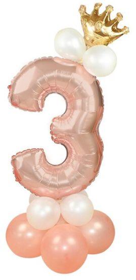 Zestaw balonów na trzecie 3 urodziny dziewczynki rose gold 400183