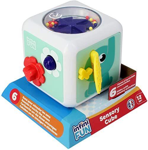 Infinitiv Fun Cube, zabawka do raczkowania i sensorycznych, tekstura, 12 miesięcy, i20510, jasnoniebieska i inne kolory, 12 x 12 x 12 cm