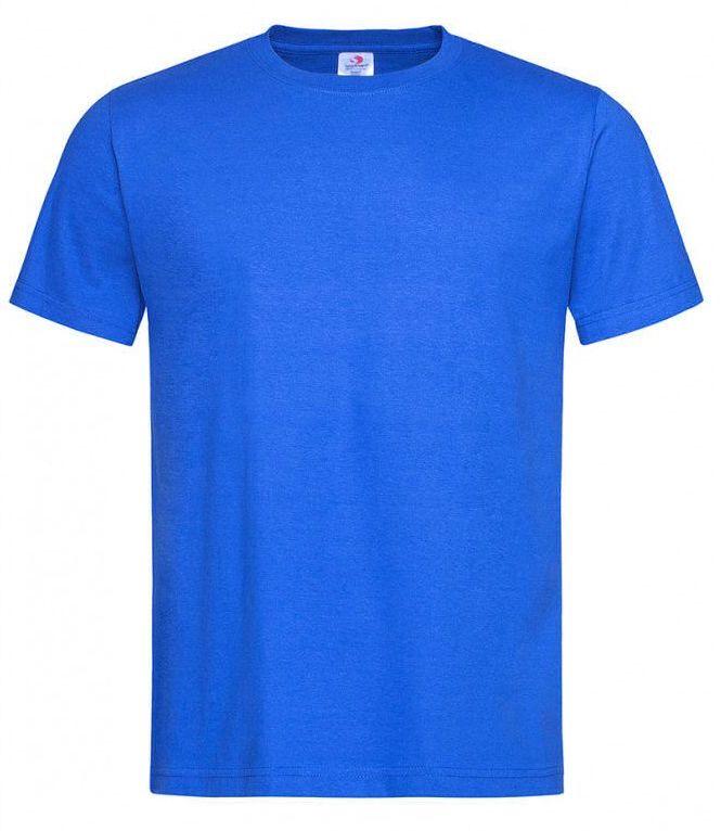 Chabrowy Bawełniany T-Shirt Męski Bez Nadruku -STEDMAN- Koszulka, Krótki Rękaw, Basic, U-neck TSJNPLST2000brightroyal
