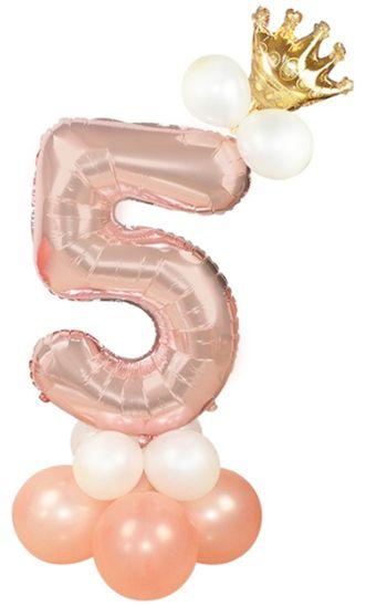 Zestaw balonów na piąte 5 urodziny dziewczynki rose gold 400185