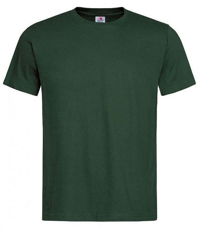 Butelkowy Zielony Bawełniany T-Shirt Męski Bez Nadruku STEDMAN Koszulka, Krótki Rękaw, Basic, U-neck TSJNPLST2000bottlegreen