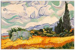 Arte dal Mondo pole pszenicy z cyprysem ręcznie wykonana reprodukcja obrazu olejnego zamontowana na estetycznej ramie rozciągającej, płótno, wielokolorowa, 90 x 60 x 2 cm