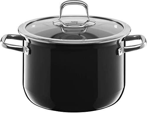 Silit Kompaktowy garnek do gotowania, duży, 22 cm, szklana pokrywka, garnek do mięsa 4,4 l, indukcja, możliwość układania w stos, ceramika funkcyjna Silargan, czarny