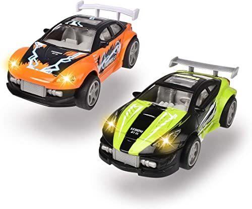 Dickie Toys Midnight Racer, samochód zabawkowy, silnik cofania, samochód wyścigowy, światło i muzyka, w zestawie baterie, 2 różne kolory, zielony/czarny lub pomarańczowy/niebieski, 11,5 cm, od 3 lat