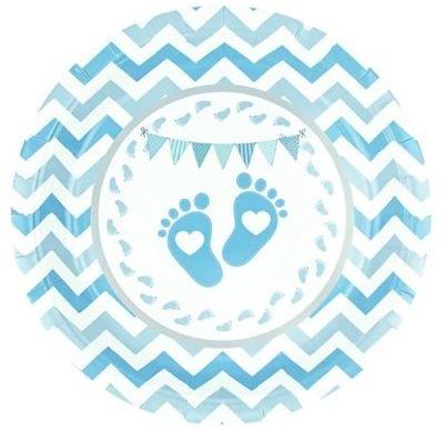 Talerzyki papierowe Baby Shower Stópki niebieskie 18cm 510628 6 sztuk
