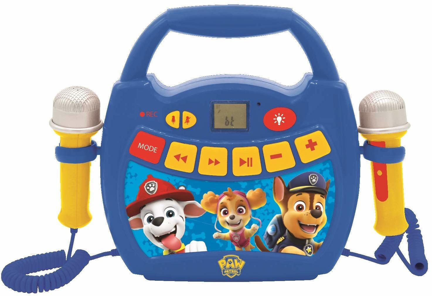 LEXIBOOK MP320PAZ Paw Patrol przenośny odtwarzacz cyfrowy karaoke dla dzieci  mikrofony, efekty świetlne, Bluetooth, funkcja nagrywania i zmiany głosu, akumulator do ładowania, niebieski/czerwony