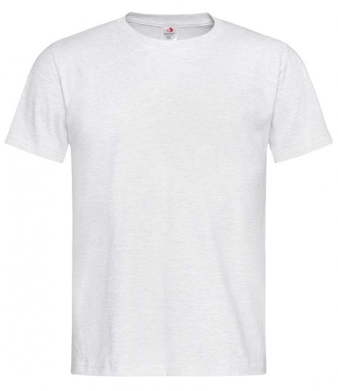 Jasny Szary Bawełniany T-Shirt Męski Bez Nadruku -STEDMAN- Koszulka, Krótki Rękaw, Basic, U-neck TSJNPLST2000ash