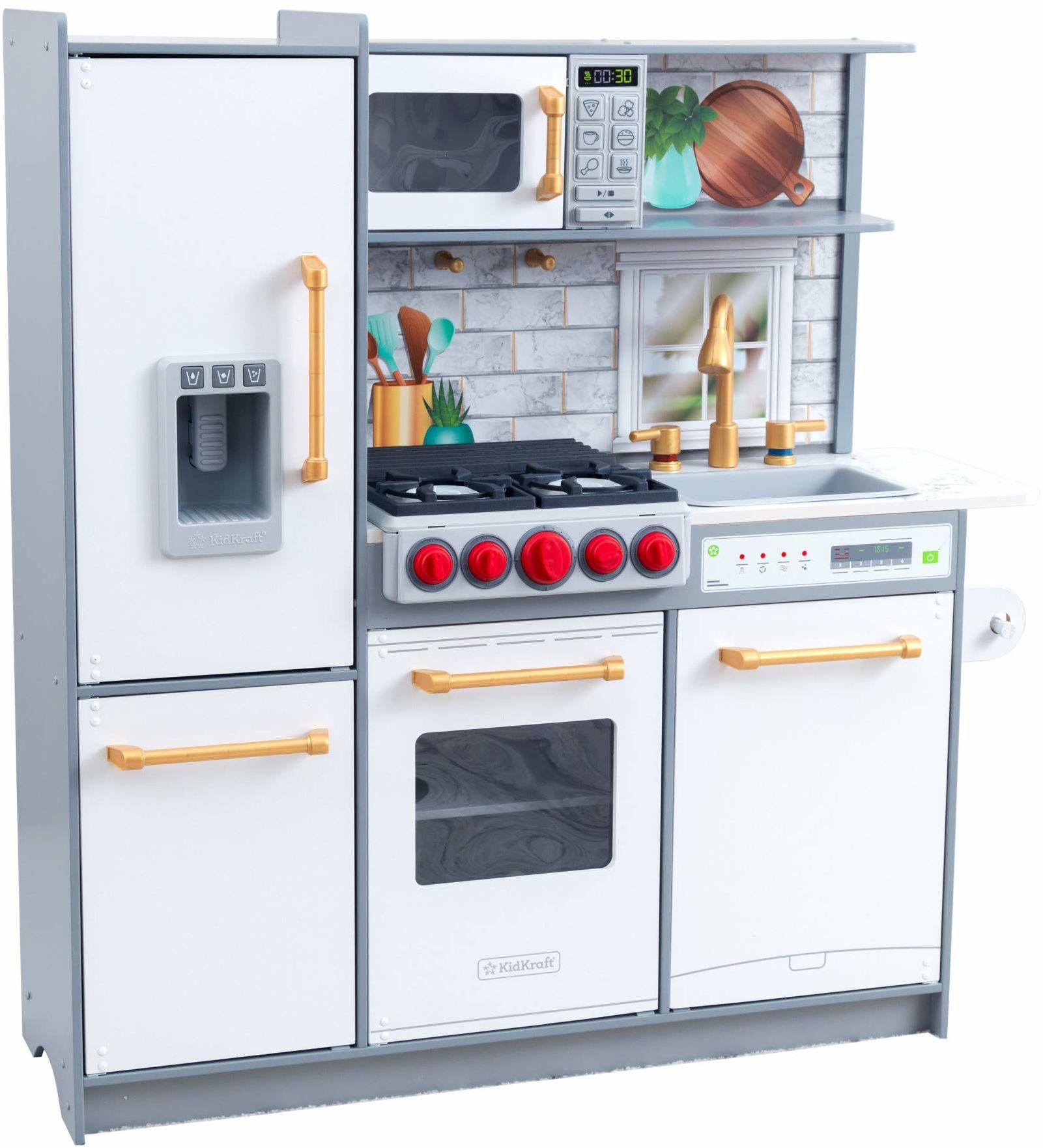 KidKraft 53437 Uptown Elite drewniana kuchnia dla dzieci z 3 trybami zabawy i funkcjonalnymi funkcjami kuchni do zabawy