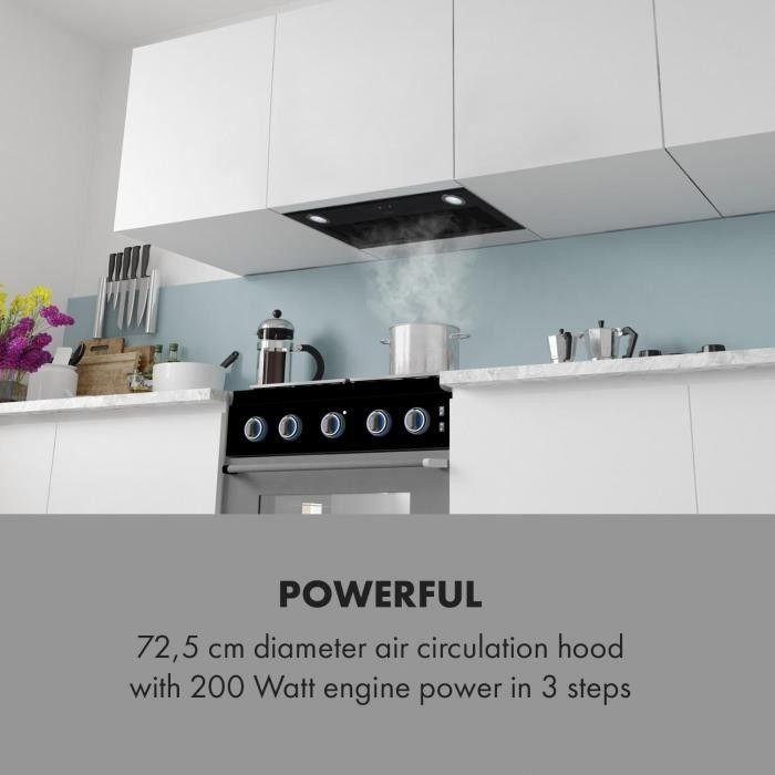 Klarstein Paolo, wyciąg pary, wbudowany, 72,5 cm, wyciąg powietrza: 600 m / h, LED, czarny
