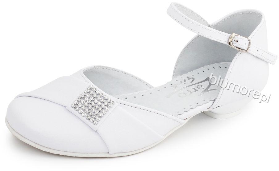 Białe czółenka na komunię 33-38 Daisy biel