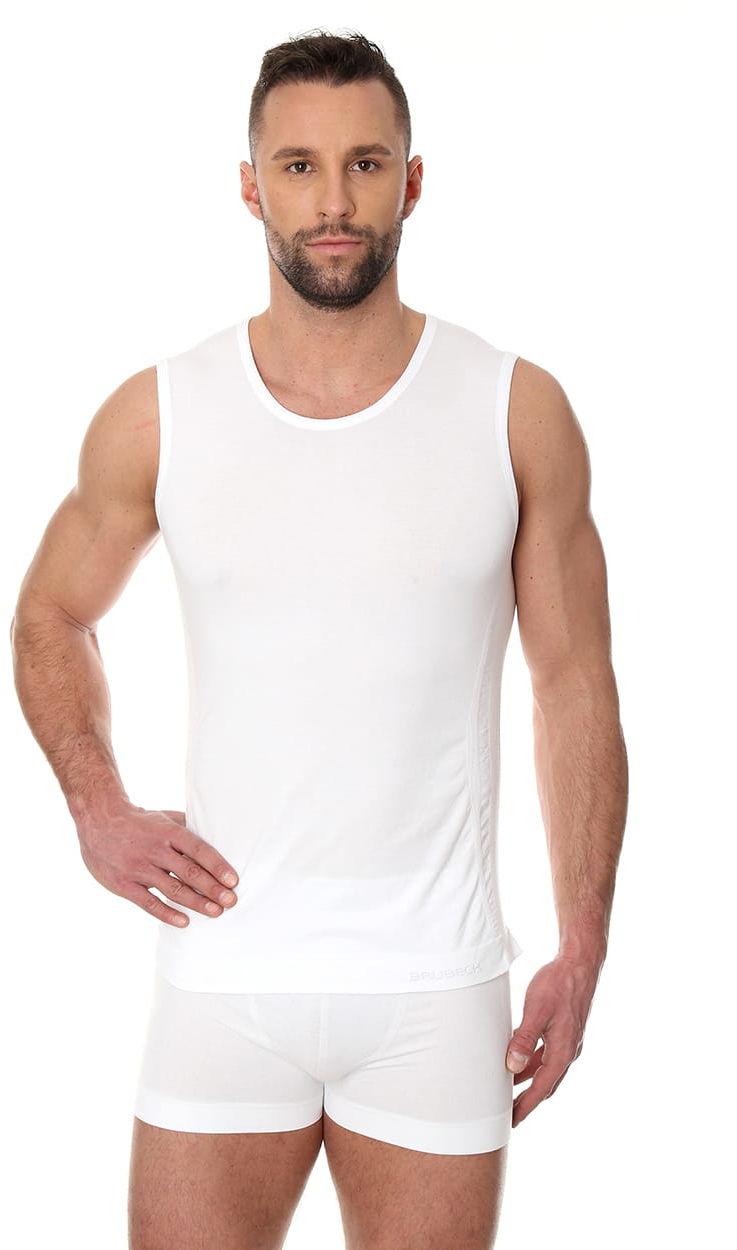 Bezszwowa koszulka męska Brubeck Comfort Cotton SL00068 biała